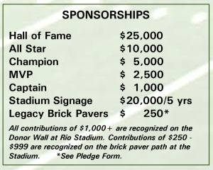 Rio Athletic Fields - Sponsorship Levels