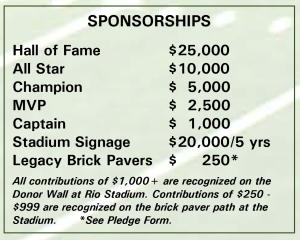 Rio Athletic Fields - Sponsorship Levels